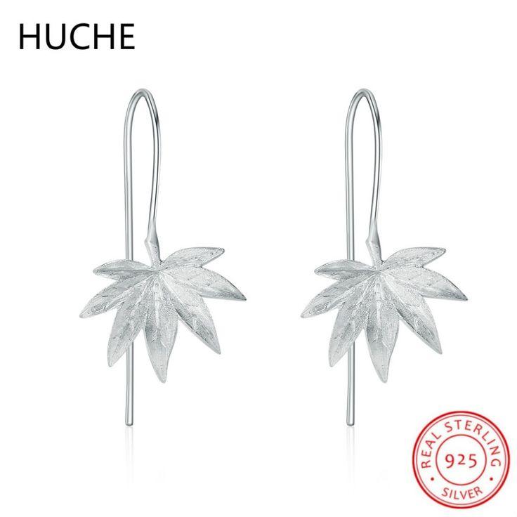 HUCHE Vintage Sterling Silver Jewelry 925 Sterling Silver Long Earrings for Women Handmade Leaf Hanging Drop Earrings C39 #Affiliate