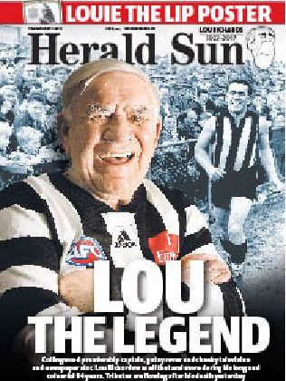 Herald Sun front page Lou Richards