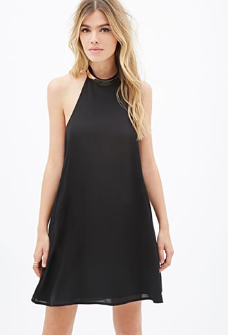 Plated-Collar Trapeze Dress | FOREVER21 - 2000117174
