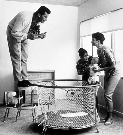 Such a fun moment captured: James Garner with his wife, Lois Clark, and daughters, Kimberly Clark and Gigi, 1958.