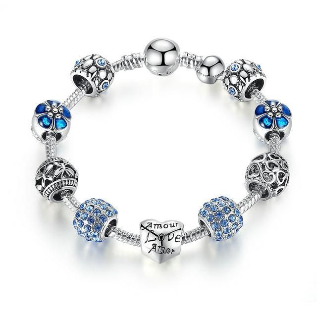 BAMOER Antique Silver Charm Bracelet & Bangle with Love and Flower Crystal Ball