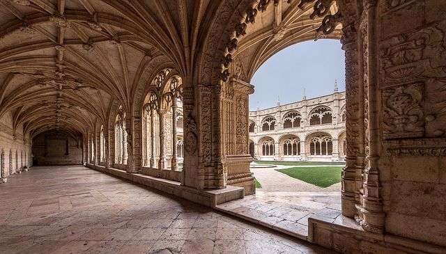 Jerónimos Monastery, Belém, Lisbon - the cloister (lower storey) | Flickr - Photo Sharing!