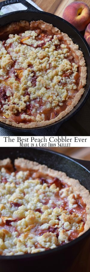 Peach cobbler is probably the easiest dessert recipe, besides chocolate chip cookies, you could ever make. Ingredients are simple, and the crust is a press-in crust, my favorite type of pie crust! Grab the recipe, bake it up in your favorite cast iron skillet (or baking dish), serve with vanilla ice cream, and watch it disappear.