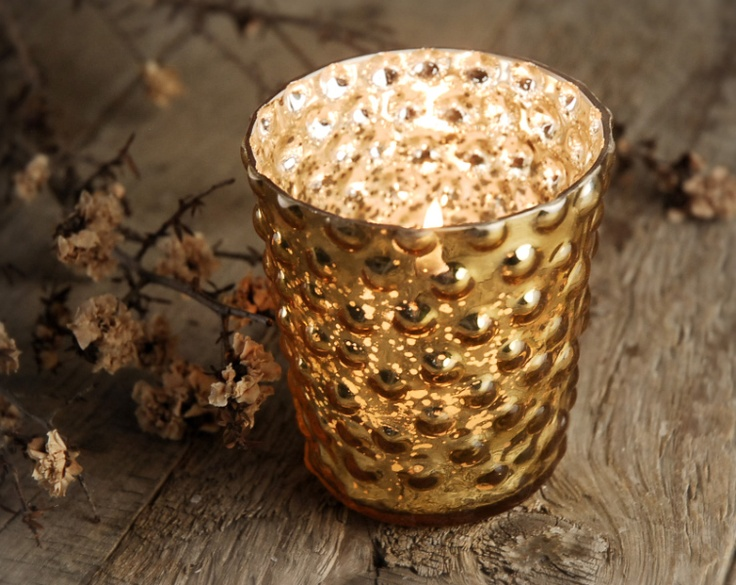 Gold Mercury Glass Hobnail Votive Holders