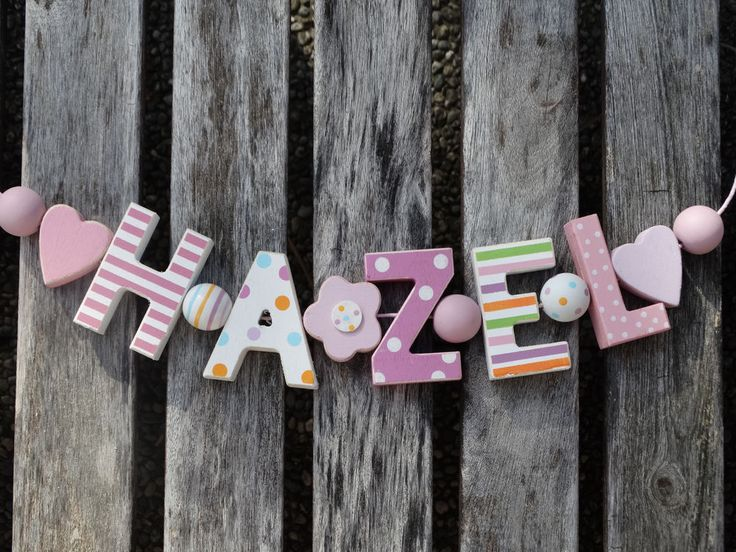 HAZEL  WOODEN LETTERS LETTER DOOR NAME DECORATION PERSONALISED SHABBY CHIC