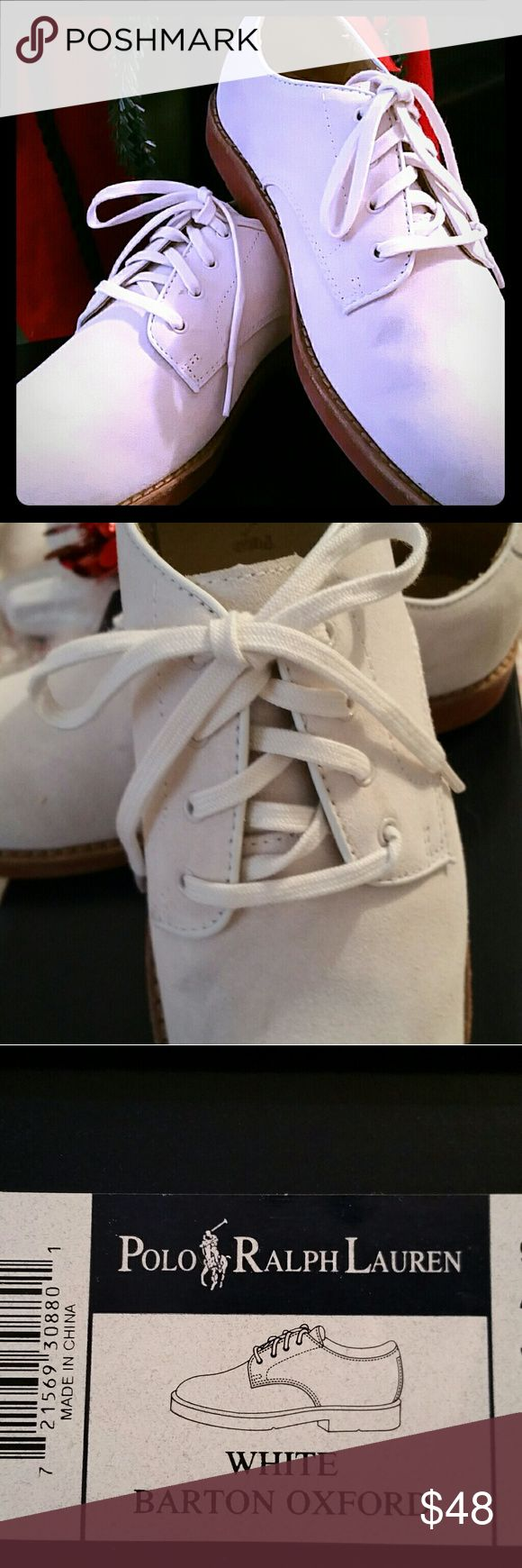 Boys 3.5 Polo Ralph Lauren 🏇 Suede Oxford shoe Worn once, maybe twice, Like New😄 Suede in a nice Winter cream. Leather-lined with a padded foam insole. Molded leather outsole with raised pebble treads. Comes in original box. Bundle-up & save even more! 😍 Polo by Ralph Lauren Shoes Dress Shoes