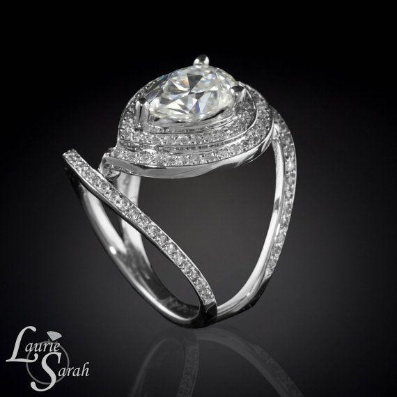 Amazing kt White Gold Moissanite Egyptian Eye Engagement Ring with Diamond Halo LS on Etsy