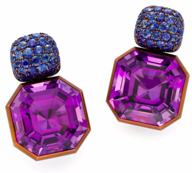 A Pair of Octagonal Amethyst Ear Pendants, Topped by Circular-cut Sapphires, by Hemmerle