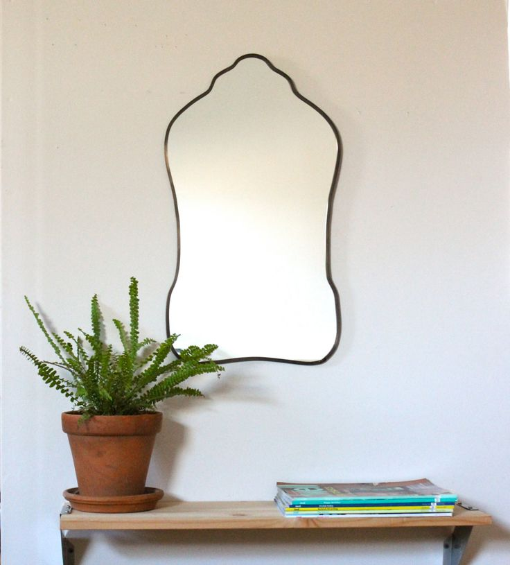 Oval Mirror Handmade Wall Mirror Frameless Wall Mirror Miroir Oblong Sculpted Organic Curved Curvy Scalloped by fluxglass on Etsy https://www.etsy.com/listing/219428775/oval-mirror-handmade-wall-mirror