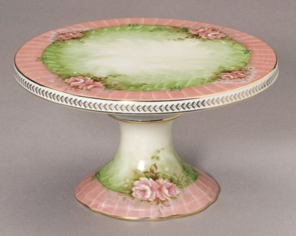 pink and green hand painted cake stand