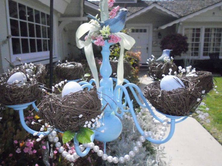 spring chandelier by The V Spot: Dazzling Chandeliers, Bird Nests, Nest Ideas, Nests Filled, Spring Easter, Spring Chandelier, Dream Chandeliers, Easter Ideas