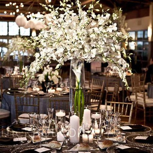 varying Centerpieces | Above → white inexpensive diy tall wedding centerpieces. Below ...