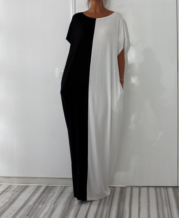 Black and White Long MAXI Oversized Elegant by cherryblossomsdress