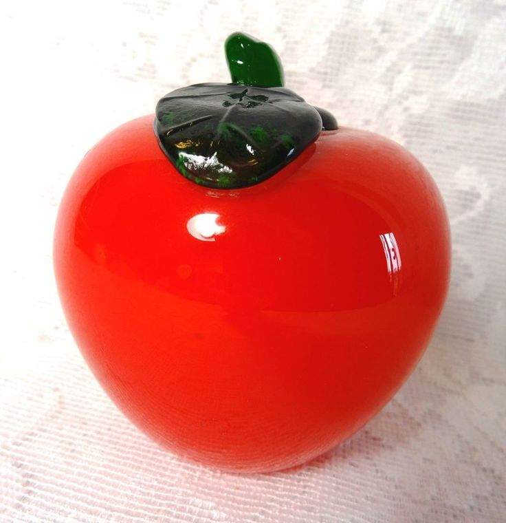 Glass Red Apple Fruit Artificial Theater Prop Staging #Unbranded