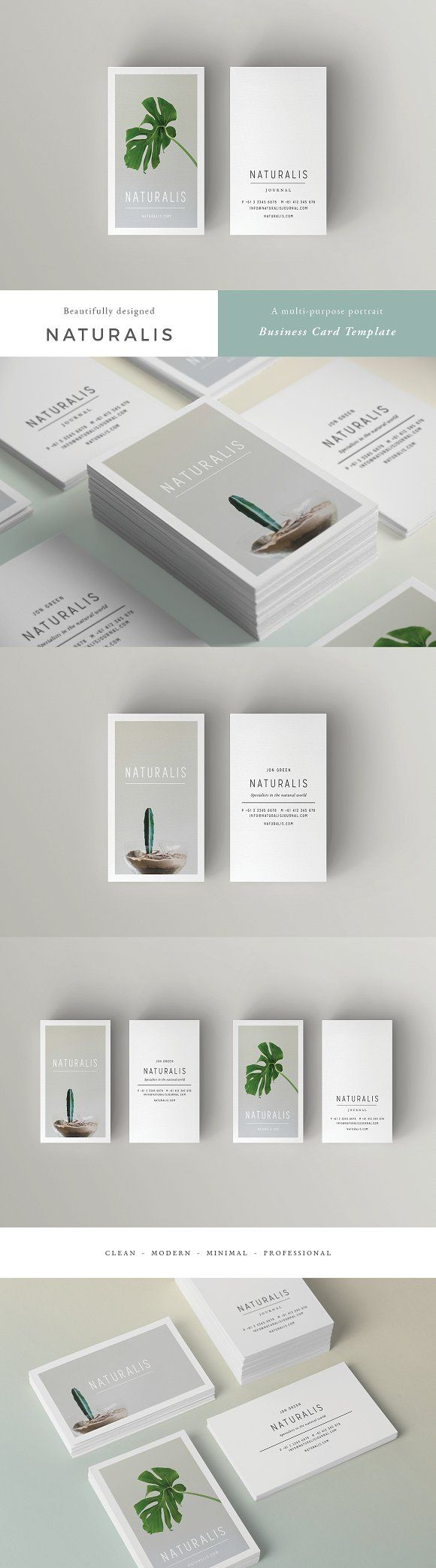 NATURALIS Business Card Template by 46&2 Collective on @creativemarket  A beautiful multipurpose business card template, perfect for your next project and any brand identity. Clean, modern and fully customisable. Ideal for personal identity, professional branding, advertising, calling cards, launches, events, invites and more.  Landscape AND portrait options. 4 design variations to choose from all up, feel free to mix and match fronts and backs.