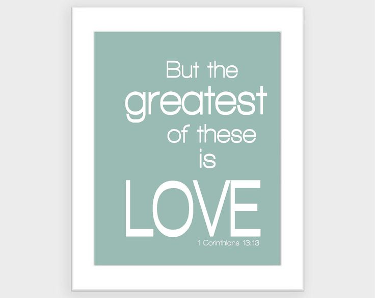 love print- modern love quote- bible verse- greatest of these is love- simple aqua blue and white- custom colors available 8x10. $15.00, via Etsy.