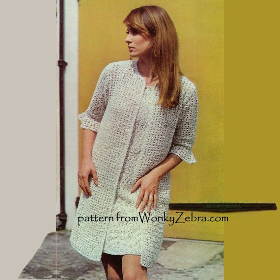 Vintage Crochet Pattern for an elegant retro sheath dress and coat in boucle cotton. PDF125 $3 Dress and Coat from wonkyzebra.com