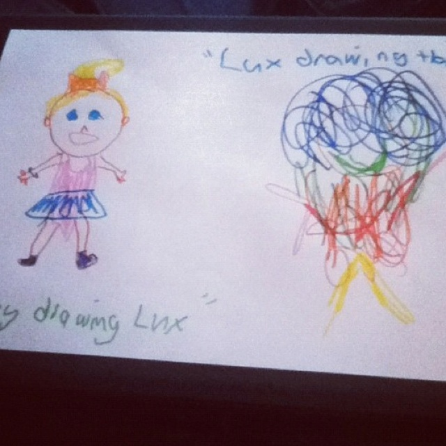 Harry and Lux drew each other....OMFG. THE ADORABLENESS. I'm pretty sure someone helped Lux, or else she's a very talented baby, but still....  -H