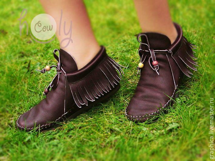 """Купить Стильные кожаные ботиночки """"Positive Brown"""" - коричневый, ботинки, кожаные сапоги, кожаные ботинки"""