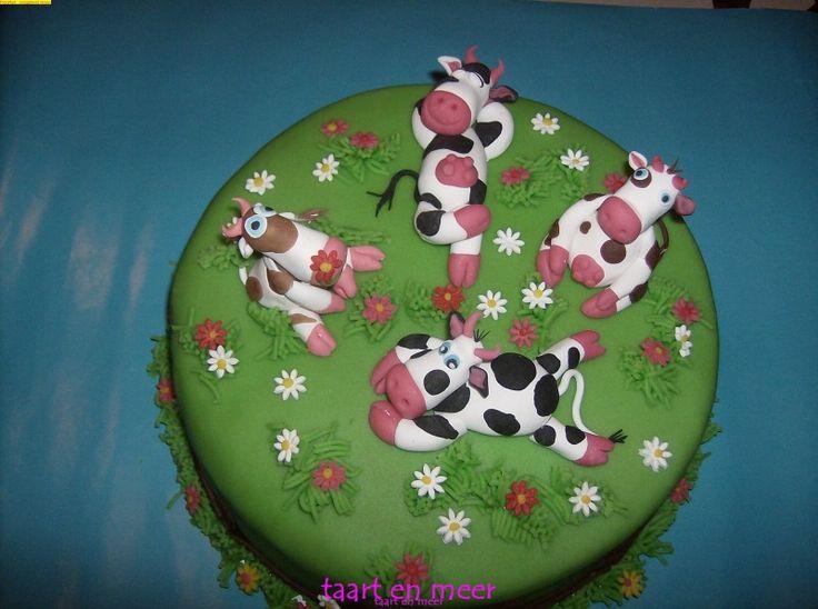 Erg grappige taart: koeien luieren in het gras
