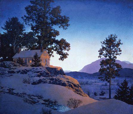 "Maxfield Parrish, ""Evening Winterscape"""