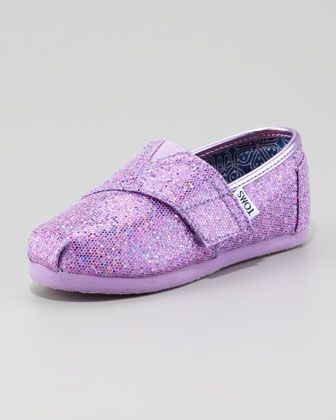 Lilac Glitter Shoe, Tiny by TOMS at Neiman Marcus.