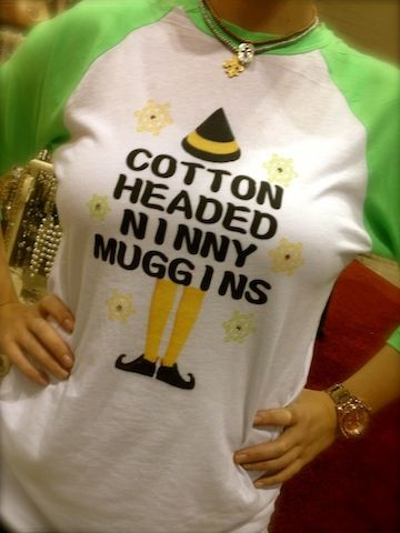 "Cotton Headed Ninny Muggins Elf t-shirt! It says ""I like smiling, smiling's my favorite."" on the back."