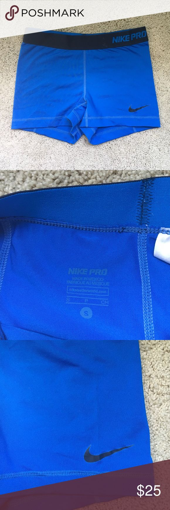 Nike Pro Combat Spandex These cute Nike spandex are in great condition! They are blue with a dark blue waistband. SO comfortable and are great for working out in or just wearing around :) Nike Pants Track Pants & Joggers