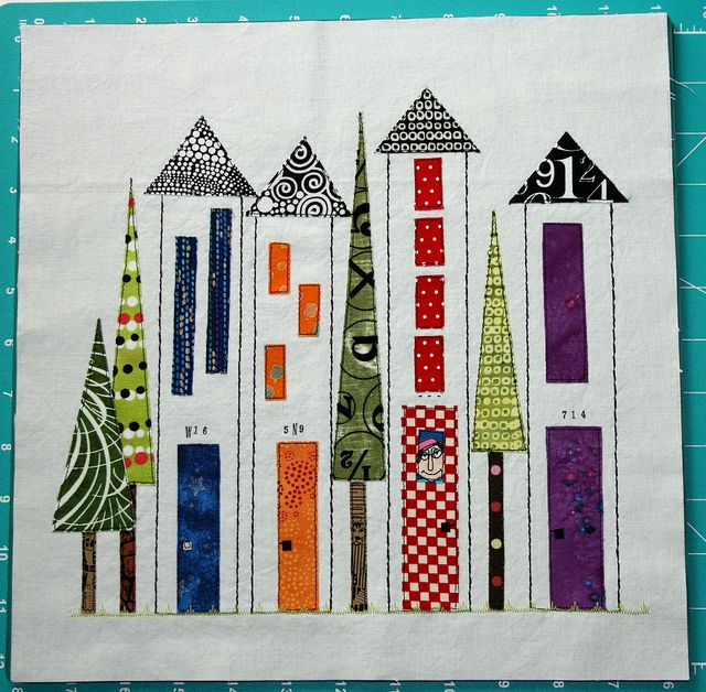 Cityscape Quilt  I'd use this for end-of-unit/Geometry.  -combine measuring length, using a straightedge, drawing equilateral, isoscles, rectangles - given written measurements - or - for differentiation, modify for needs..