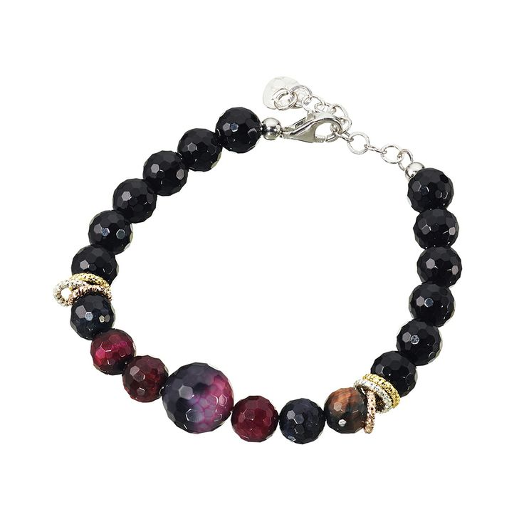 Oxette Bracelet - Couture Collection  - Available here http://www.oxette.gr/kosmimata/vrahiolia/ster.silver-rose-gold-pl-bracelet-onyx-agate-540l-1/     #oxette #OXETTEbracelet #jewellery