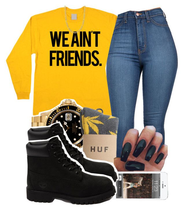 """""""08.21.15"""" by jadeessxo on Polyvore featuring Rolex, HUF, Timberland and Fremada"""