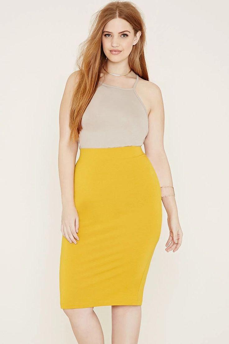 Plus Size Knit Pencil Skirt #f21plus