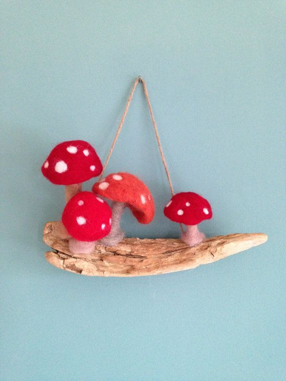 Toadstools on driftwood needle-felted hanging by PolkaDotCraftsUK
