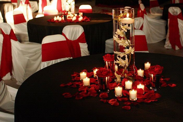 Black and Red Wedding Centerpieces Ideas