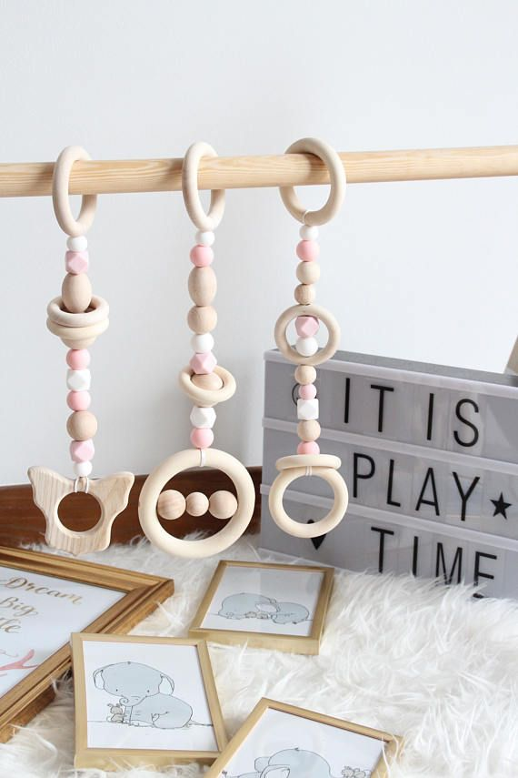 Super cute Pink Wooden Baby Play Gym Toys | Set of 3 toys