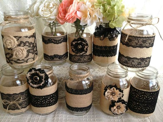 10x rustic burlap and black lace covered mason jar vases wedding decoration…
