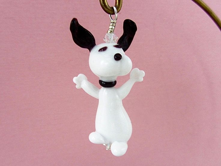 Snoopy Dog Ornament or Pendant - Lampwork Glass Beads SRA by SUZOOM on Etsy