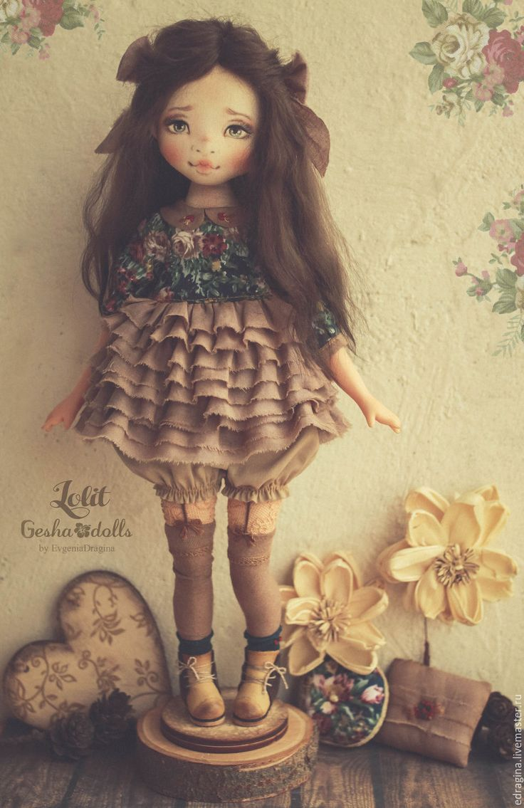 Купить Lolit - морская волна, изумрудный, нежность, текстильная кукла, авторская кукла, любовь, цветы
