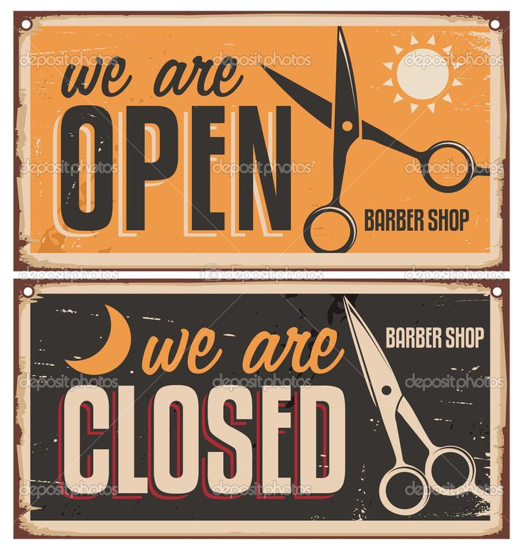 muestras de la puerta retro para peluquería - Ilustración de stock: 39568567