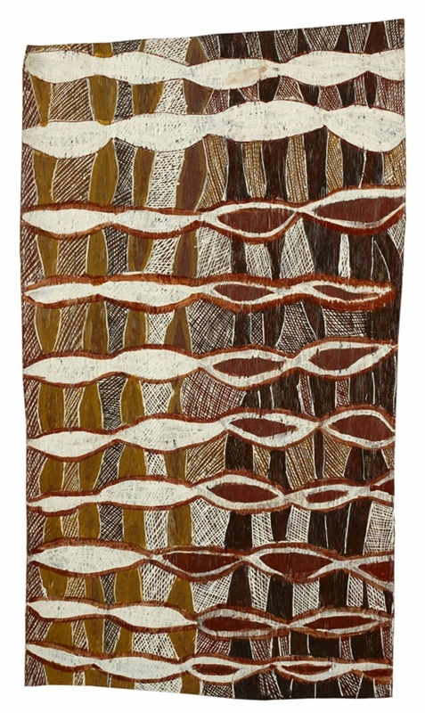 Barrupu Yunupingu / Untitled earth pigments on bark