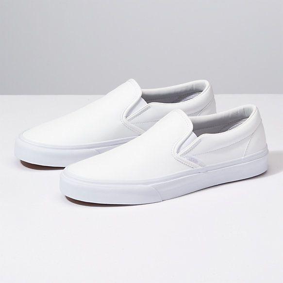 White slip on vans, White leather vans