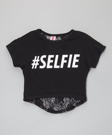 Black 'Selfie' Lace-Back Crop Top - Toddler & Girls by American Kids #zulily #zulilyfinds