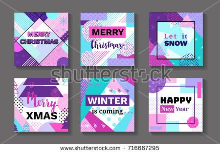 Merry christmas geometric greeting cards set in trendy memphis 90s style with triangles, lines, lettering, frames, party background or invitation template, banner, cover, vector illustration