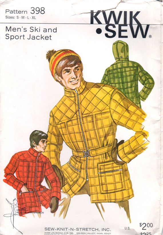 Kwik Sew 398 Mens Ski Jacket Sport Jacket Pattern Zip Front  Hooded vintage sewing pattern 1970s by mbchills