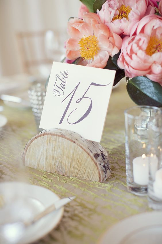 29 Unique Wedding Table Numbers - Calligraphy table number in wood holder. #tablenumber