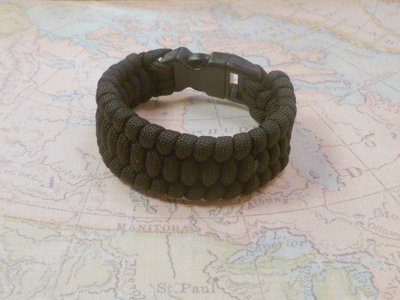 Paracord Survival Bracelet Black Weave by WestonCrafts on Etsy