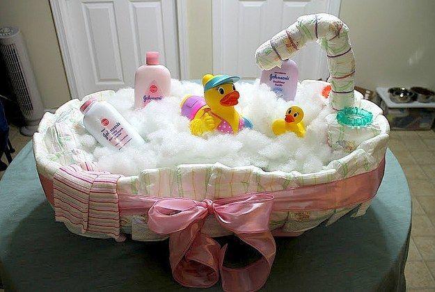 A bath tub.   31 Diaper Cake Ideas That Are Borderline Genius