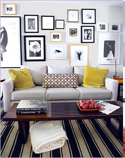 Art Wall With Grey Couch I Definitely Want A Actually Love The Yellow Accent