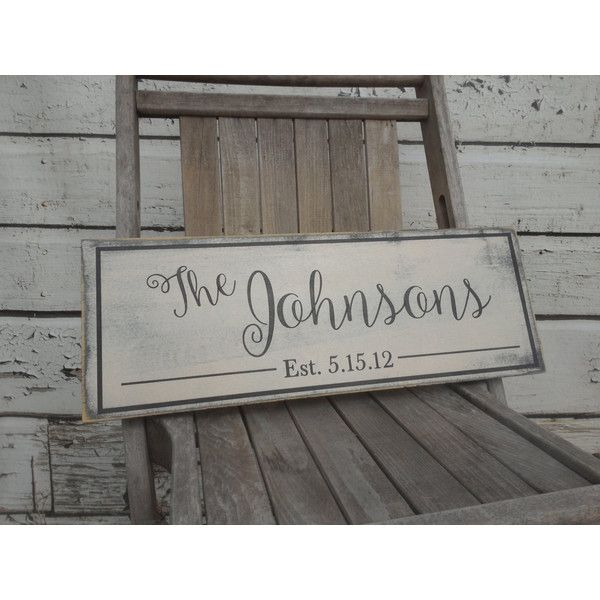Personalized Family Name Sign Last Name Wood Sign With Established... (£27) ❤ liked on Polyvore featuring home, home decor, wall art, black, home & living, home décor, wall décor, personalized home decor, wooden picture and painted wood signs