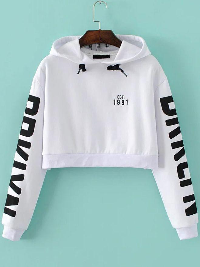 White Letter Print Hooded Crop Sweatshirt — 22.73 € -------------color: White size: L,M,S
